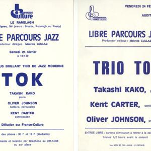 Flyer in Paris, 'TOK' radio concert ('70–'80)